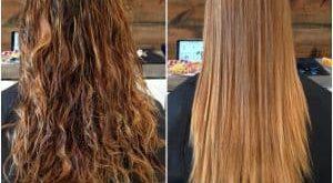 قبل و بعد از کراتین کردن مو